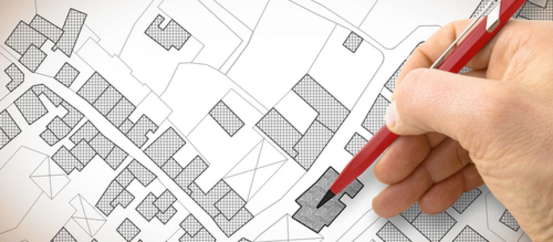Hand,Drawing,An,Imaginary,Cadastral,Map,Of,Territory,With,Buildings